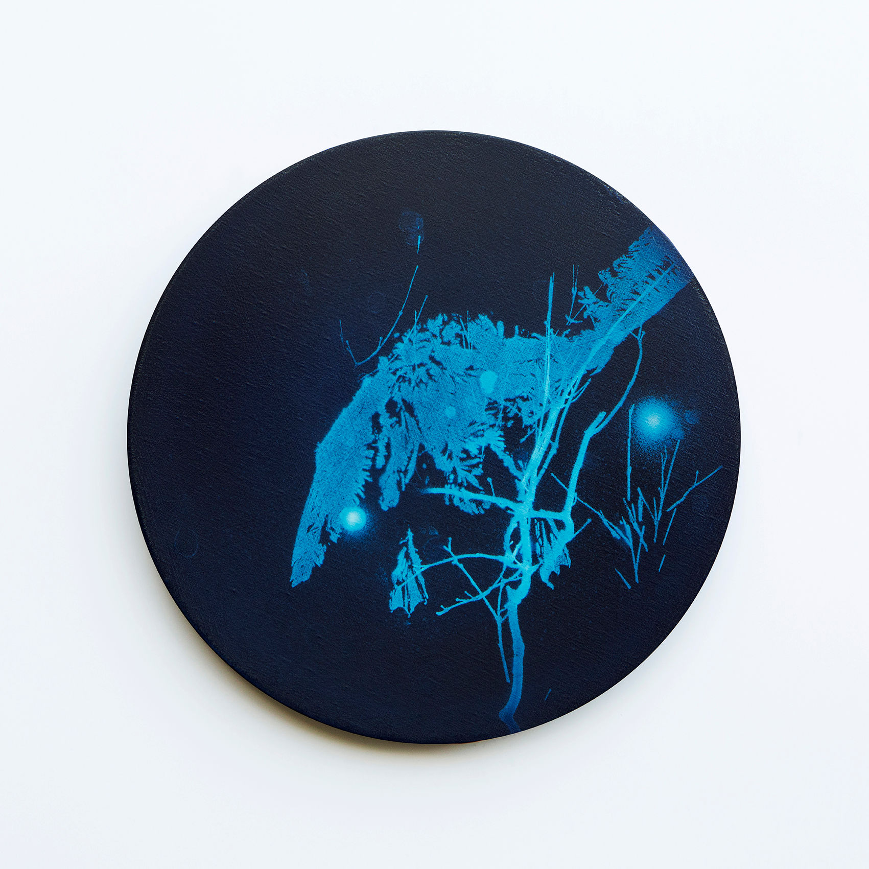 WATERSCAPE_내 안의 바깥 06, Diameter 40cm, Traditional pigment, water-print, water-drawing on canvas, 2018