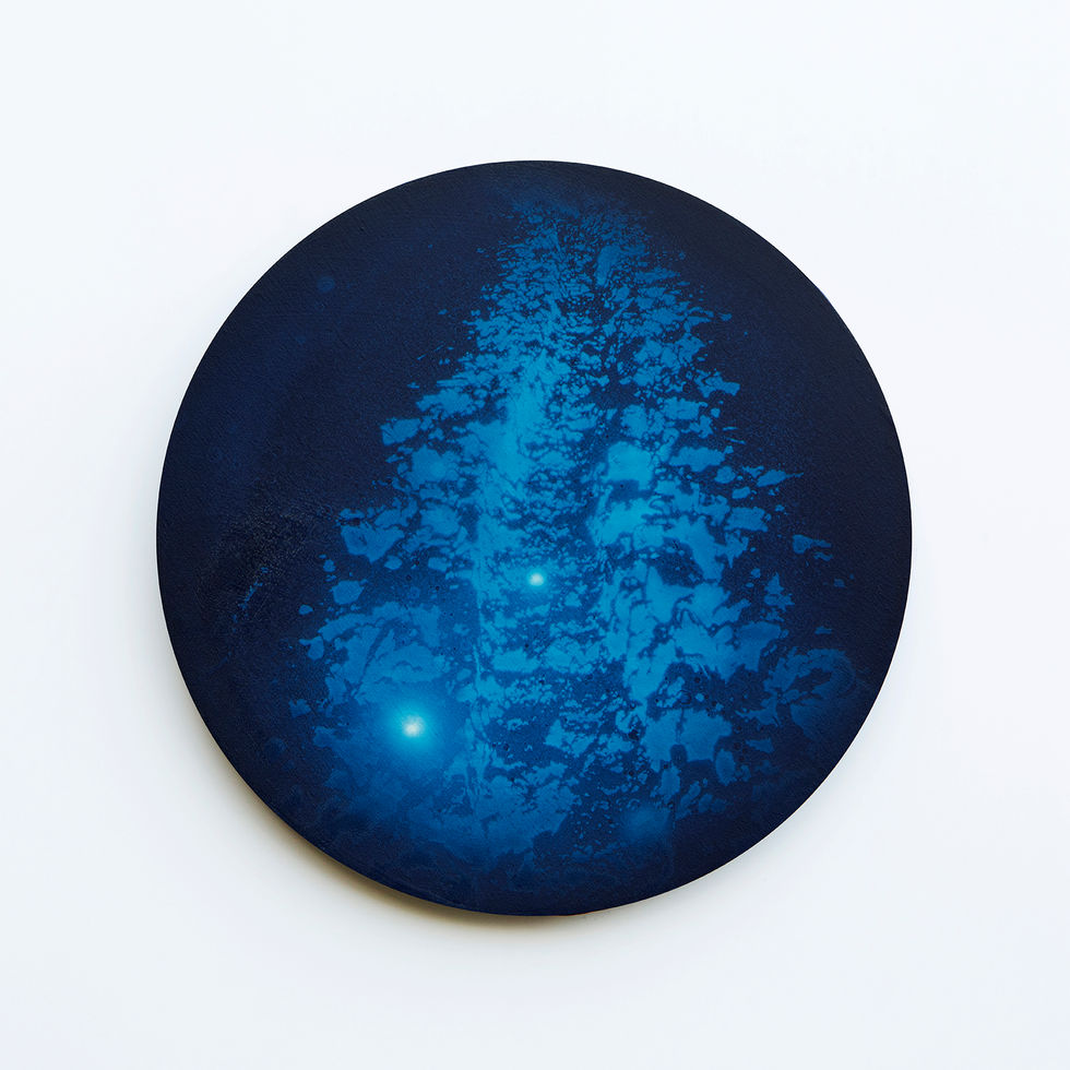 WATERSCAPE_내 안의 바깥 45, Diameter 40cm, Traditional pigment, water-print, water-drawing on canvas, 2018