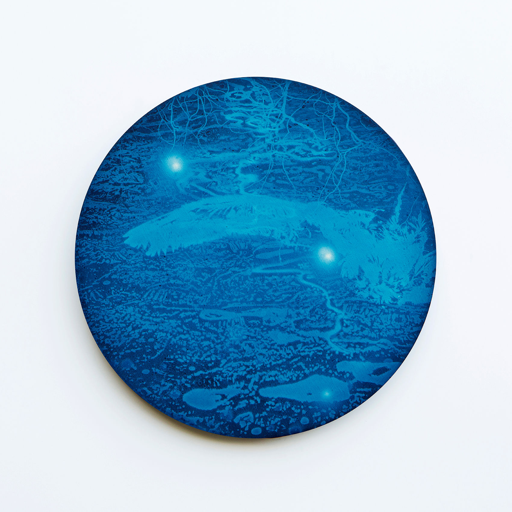 WATERSCAPE_내 안의 바깥 34, Diameter 40cm, Traditional pigment, water-print, water-drawing on canvas, 2018