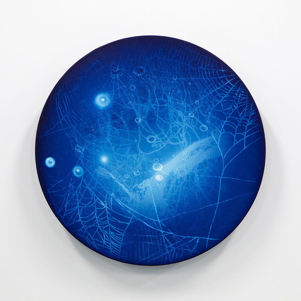 WATERSCAPE_ur sprung 1939, Diameter 50cm, Traditional pigment, water-print, water-drawing on canvas, 2019
