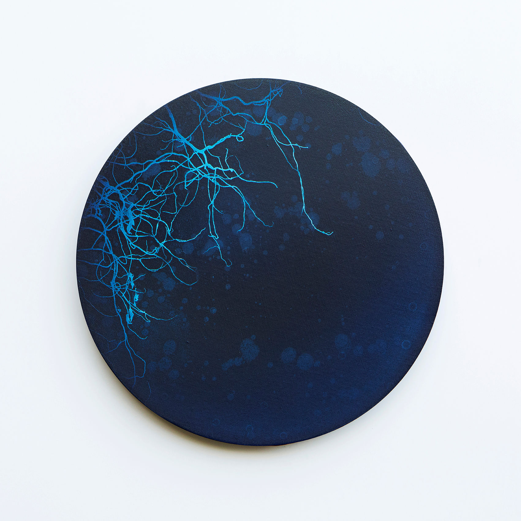 WATERSCAPE_내 안의 바깥 27, Diameter 40cm, Traditional pigment, water-print, water-drawing on canvas, 2018