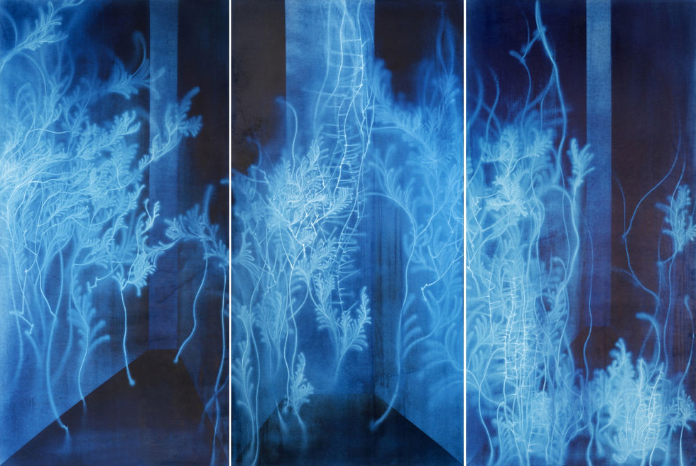 Waterscape_물풀 1504, 200x300cm,  Traditional pigment, water-drawing on mulberry paper, 2013