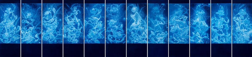 WATERSCAPE_연과연, 170x60cmx12pcs, Traditional pigment, water-print, water-drawing on canvas, 2019