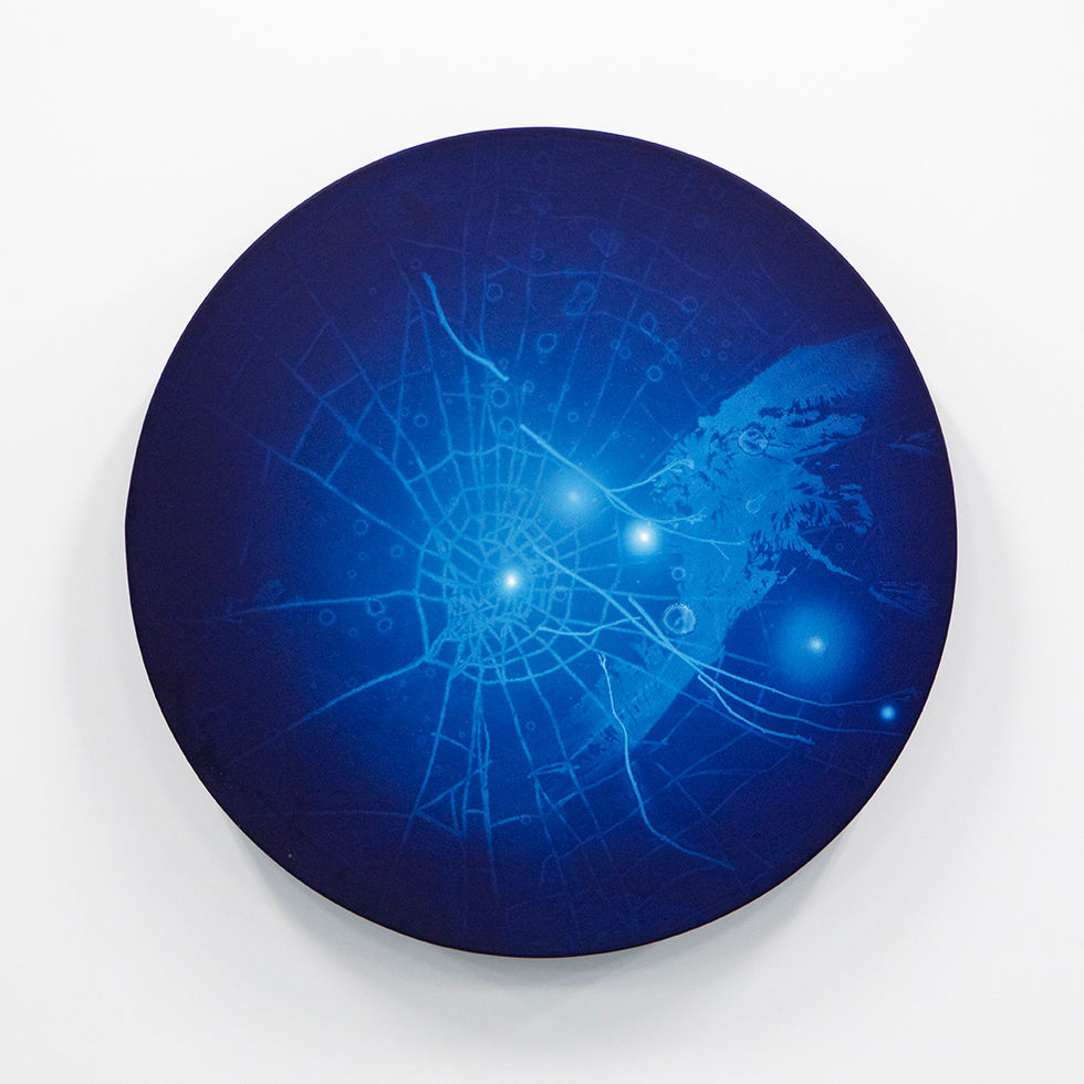 WATERSCAPE_ur sprung 1931, Diameter 50cm, Traditional pigment, water-print, water-drawing on canvas, 2019