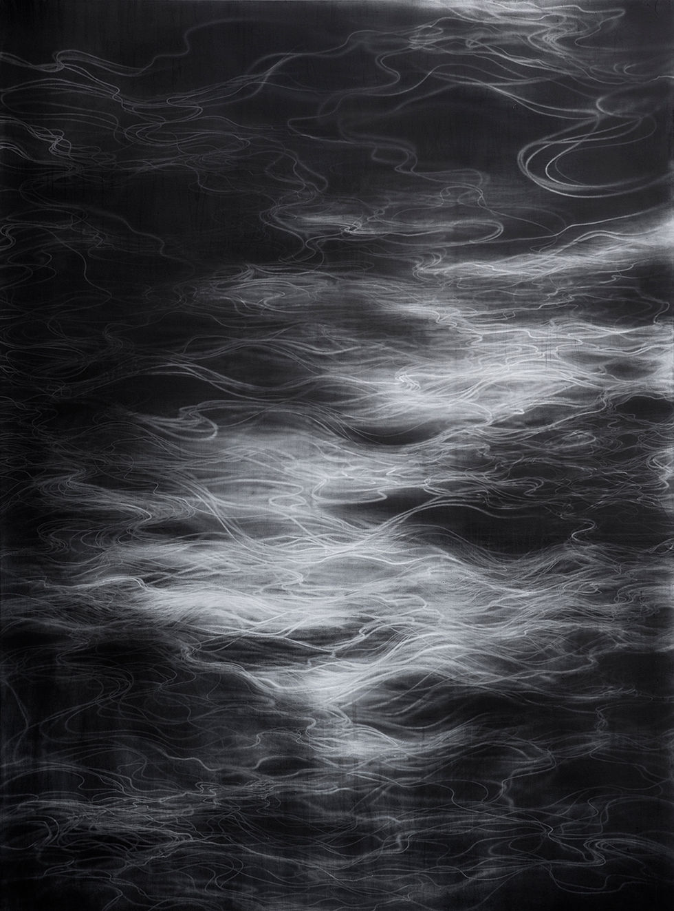 Waterscape 1301, 244x180cm, Graphite, water-drawing on Mulberry paper, 2013