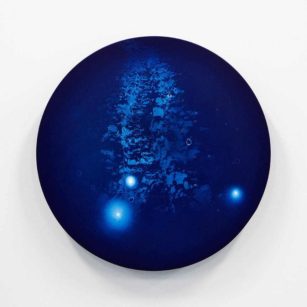 WATERSCAPE_ur sprung 1913, Diameter 50cm, Traditional pigment, water-print, water-drawing on canvas, 2019