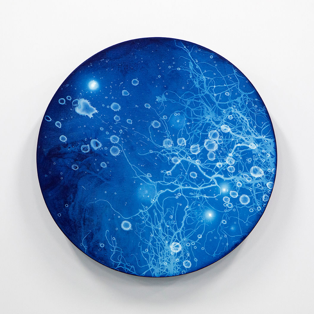 WATERSCAPE_ur sprung 1911, Diameter 50cm, Traditional pigment, water-print, water-drawing on canvas, 2019
