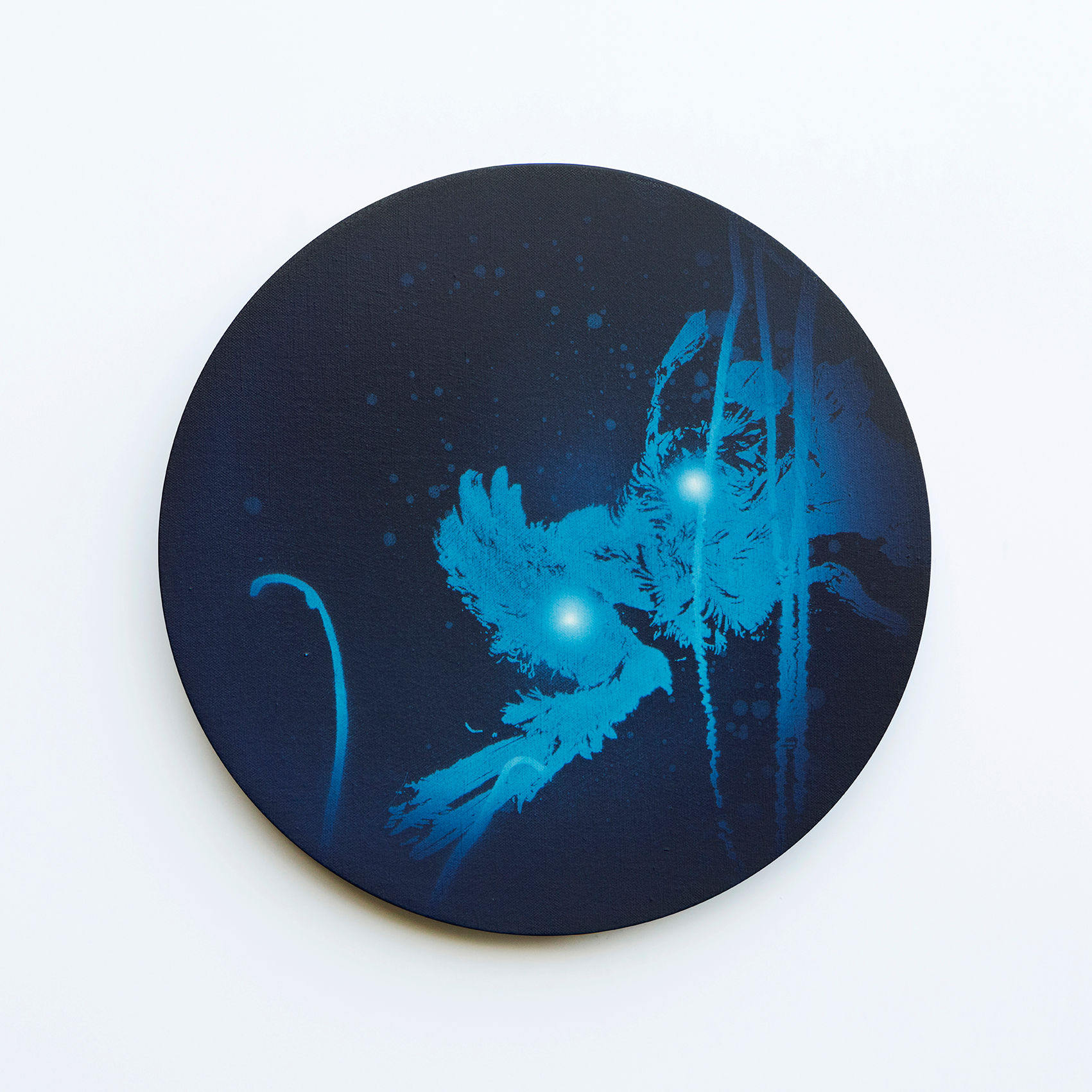 WATERSCAPE_내 안의 바깥 10, Diameter 40cm, Traditional pigment, water-print, water-drawing on canvas, 2018