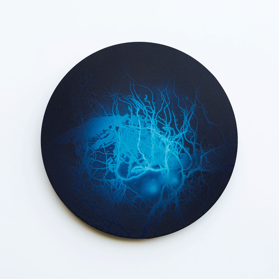 WATERSCAPE_내 안의 바깥 26, Diameter 40cm, Traditional pigment, water-print, water-drawing on canvas, 2018