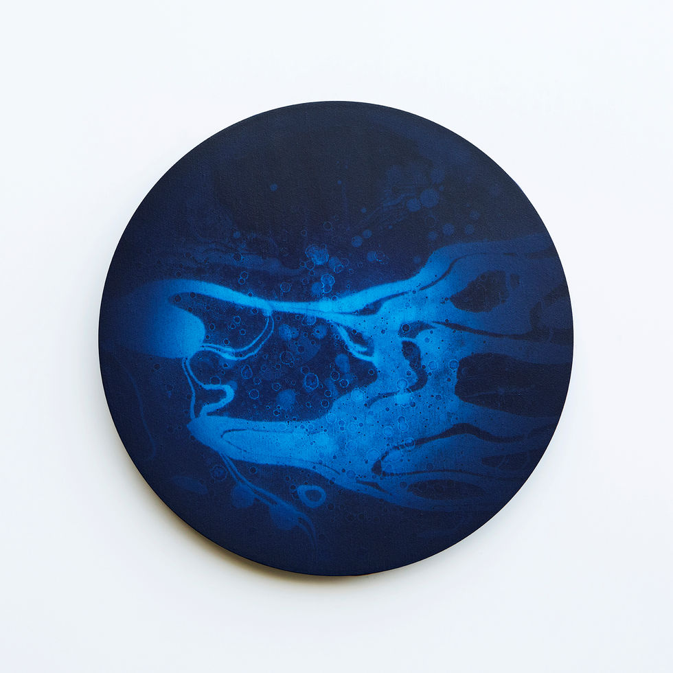 WATERSCAPE_내 안의 바깥 48, Diameter 40cm, Traditional pigment, water-print, water-drawing on canvas, 2018