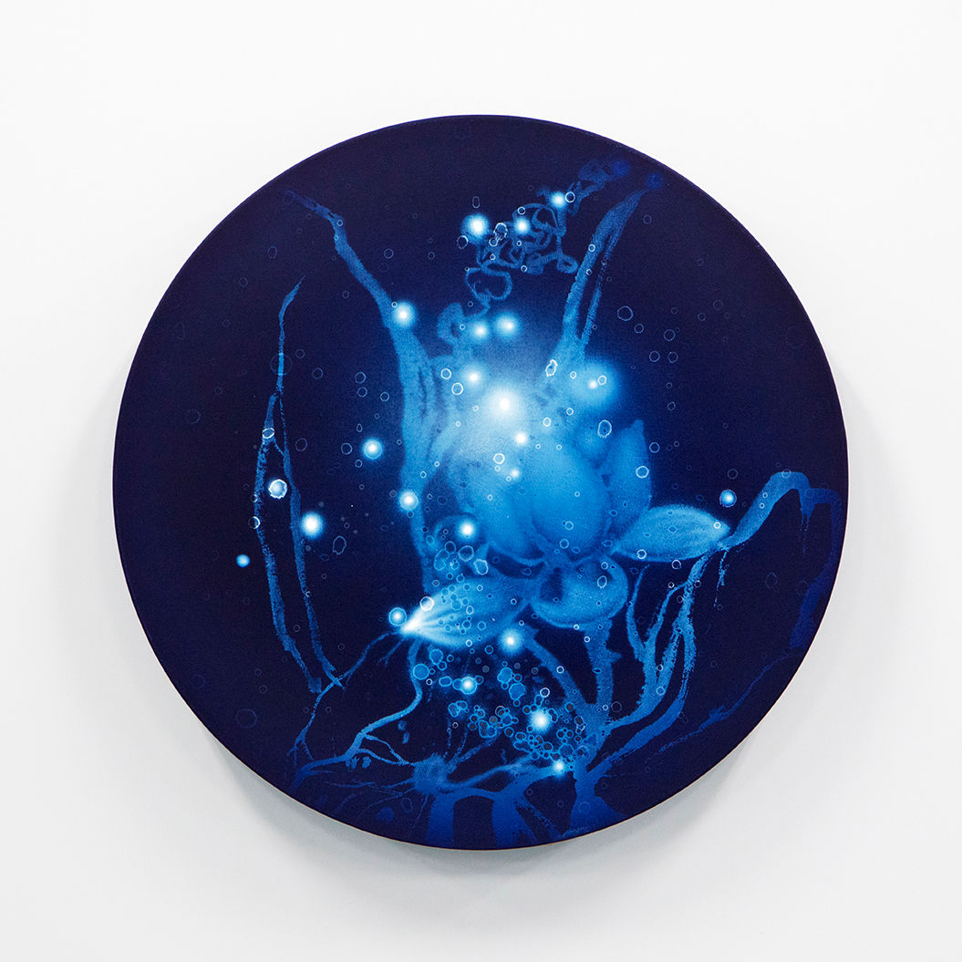 WATERSCAPE_ur sprung 1933, Diameter 50cm, Traditional pigment, water-print, water-drawing on canvas, 2019