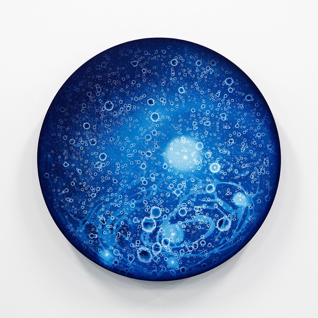 WATERSCAPE_ur sprung 1947, Diameter 50cm, Traditional pigment, water-print, water-drawing on canvas, 2019
