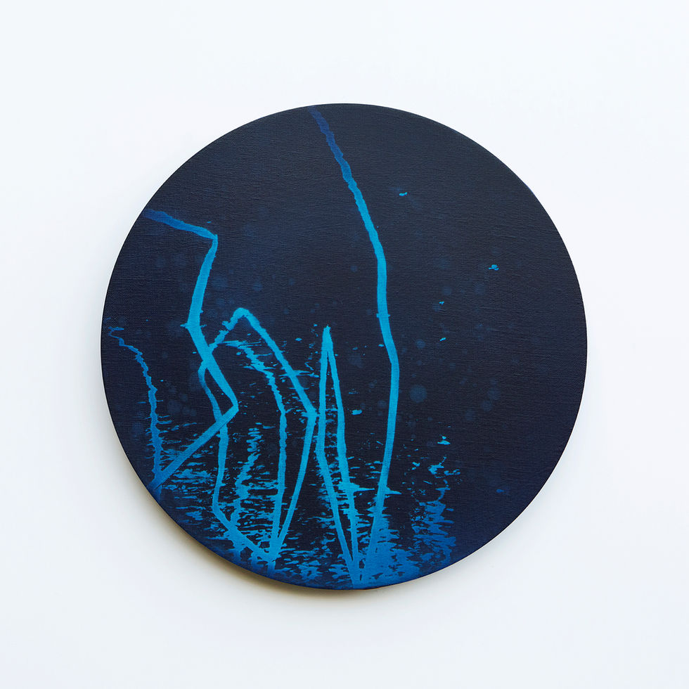 WATERSCAPE_내 안의 바깥 21, Diameter 40cm, Traditional pigment, water-print, water-drawing on canvas, 2018