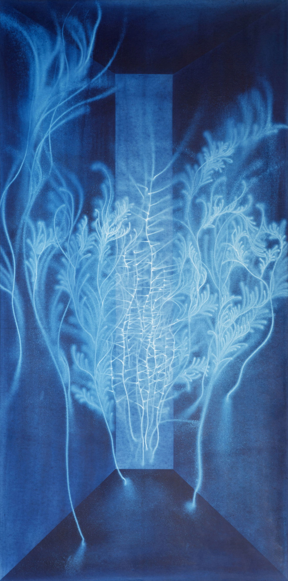 Waterscape_물풀 1505_1, 200x100cmx2pcs, Traditional pigment, water-drawing on mulberry paper, 2013