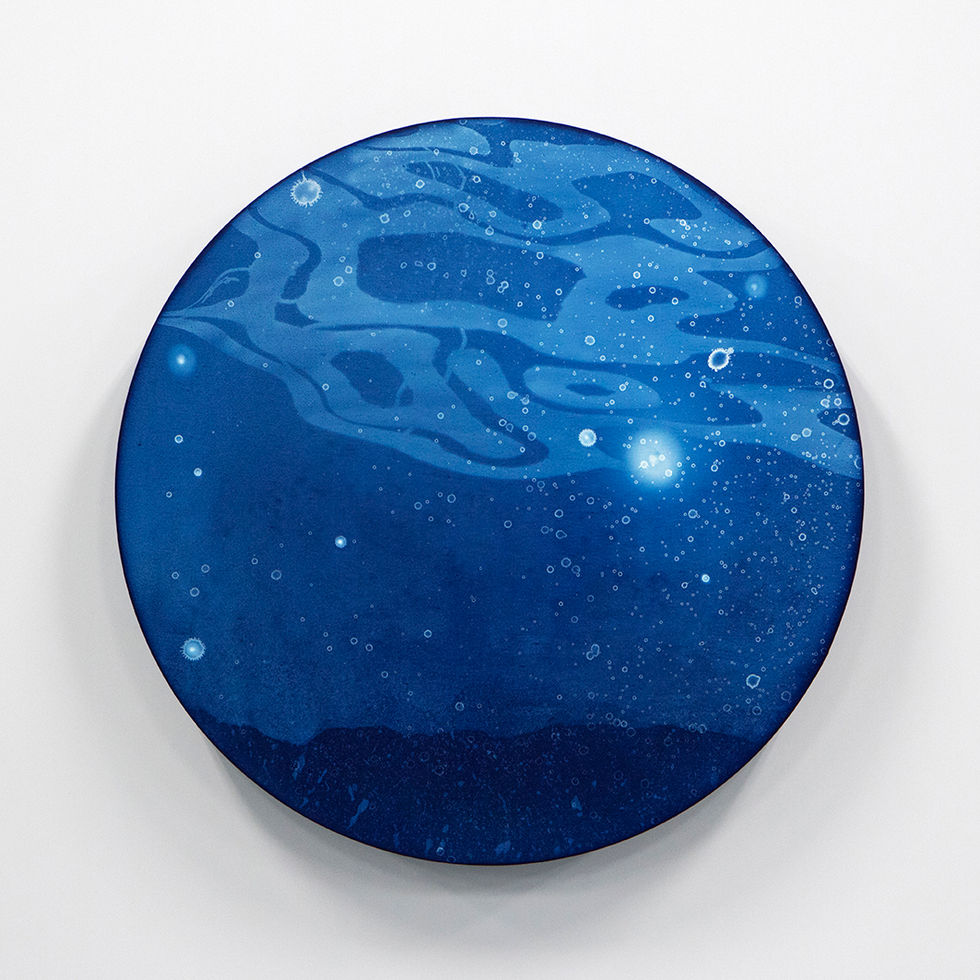 WATERSCAPE_ur sprung 1914, Diameter 50cm, Traditional pigment, water-print, water-drawing on canvas, 2019