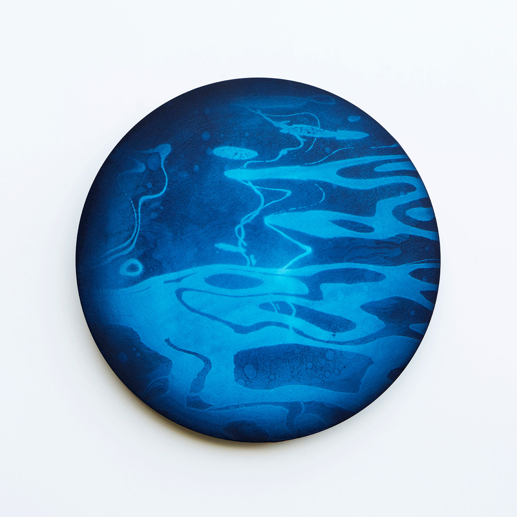 WATERSCAPE_내 안의 바깥 36, Diameter 40cm, Traditional pigment, water-print, water-drawing on canvas, 2018