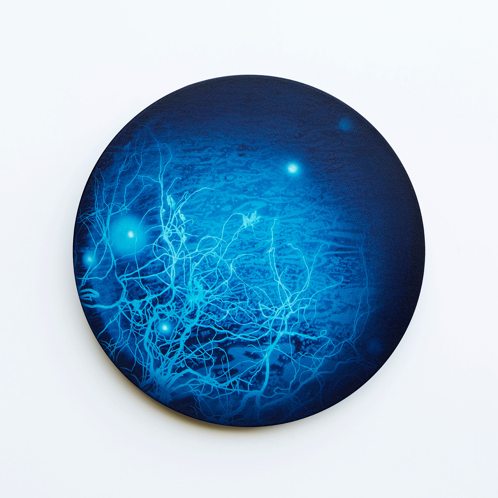 WATERSCAPE_내 안의 바깥 03, Diameter 40cm, Traditional pigment, water-print, water-drawing on canvas, 2018