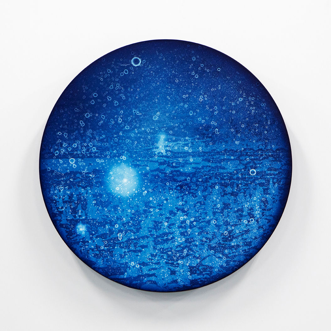 WATERSCAPE_ur sprung 1922, Diameter 50cm, Traditional pigment, water-print, water-drawing on canvas, 2019