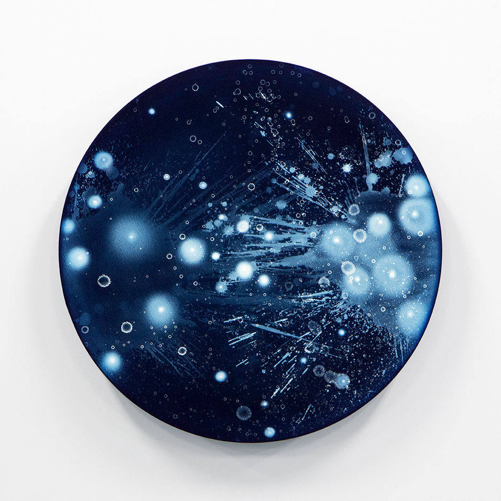 WATERSCAPE_ur sprung 1927, Diameter 50cm, Traditional pigment, water-print, water-drawing on canvas, 2019