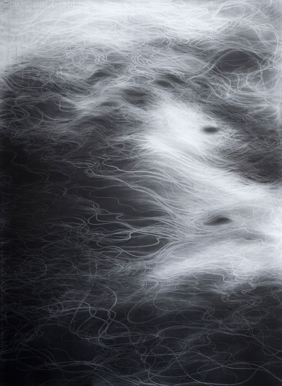 Waterscape 1302, 244x180cm, Graphite, water-drawing on Mulberry paper, 2013