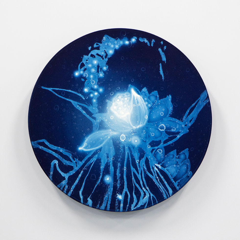 WATERSCAPE_ur sprung 1940, Diameter 50cm, Traditional pigment, water-print, water-drawing on canvas, 2019