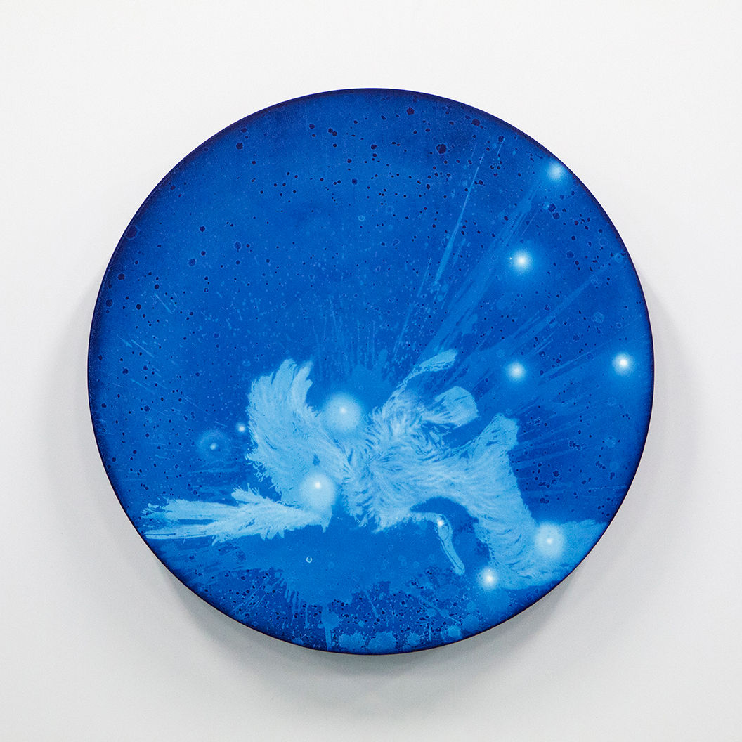 WATERSCAPE_ur sprung 1936, Diameter 50cm, Traditional pigment, water-print, water-drawing on canvas, 2019