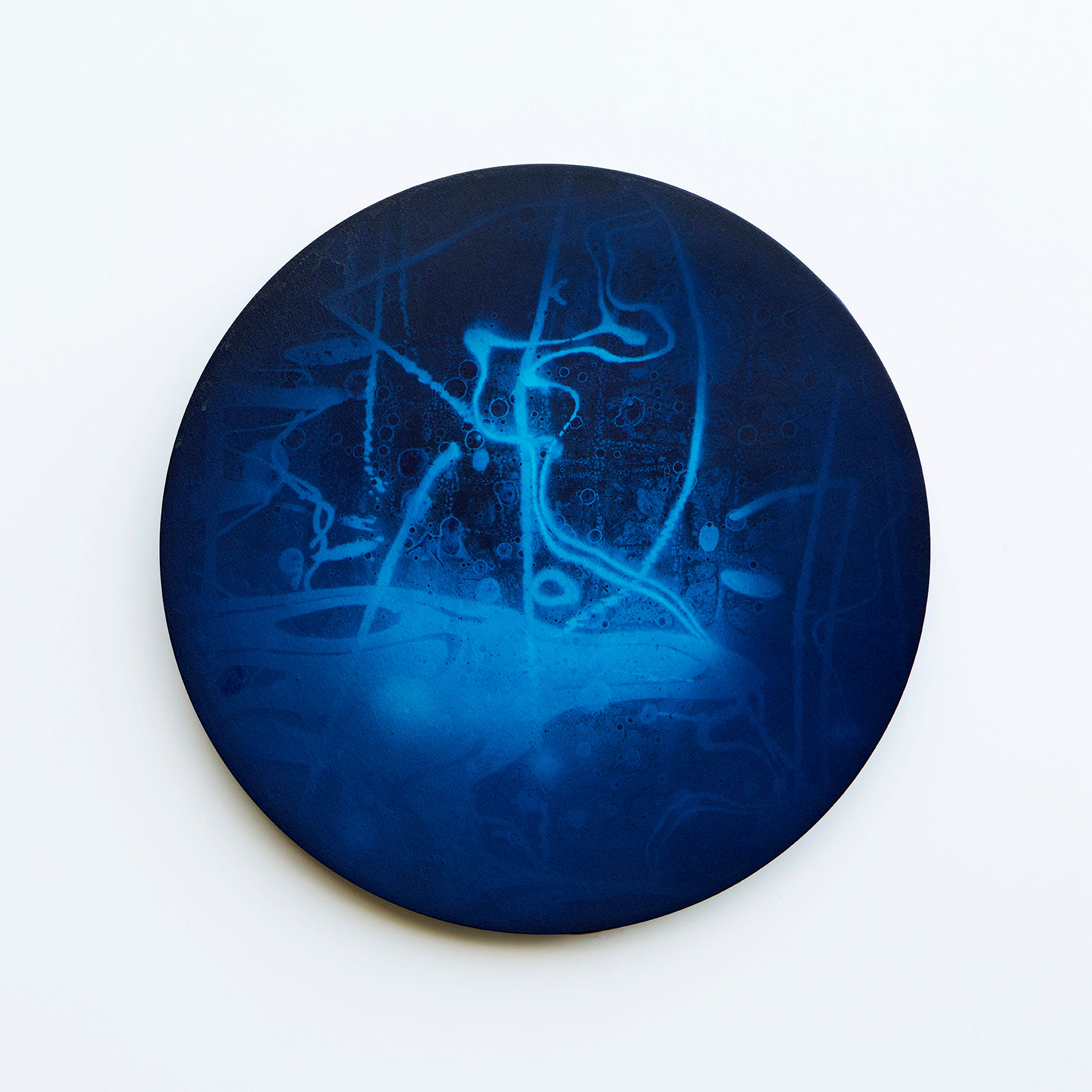 WATERSCAPE_내 안의 바깥 46, Diameter 40cm, Traditional pigment, water-print, water-drawing on canvas, 2018