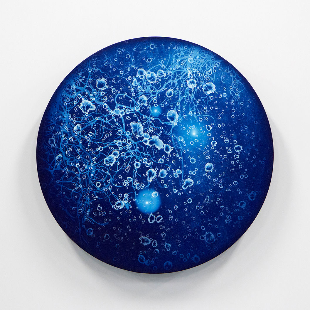WATERSCAPE_ur sprung 1921, Diameter 50cm, Traditional pigment, water-print, water-drawing on canvas, 2019