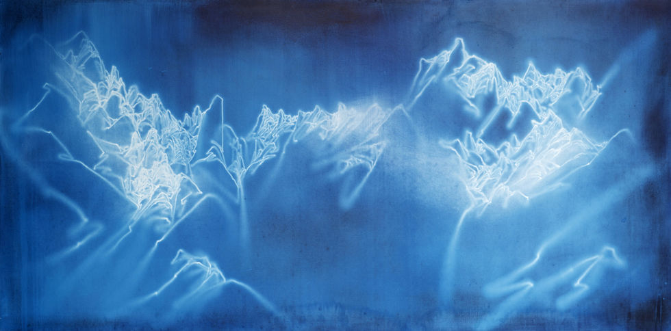 Waterscape_청산 1501, 100x200cm, Traditional pigment, water-drawing on mulberry paper, 2013