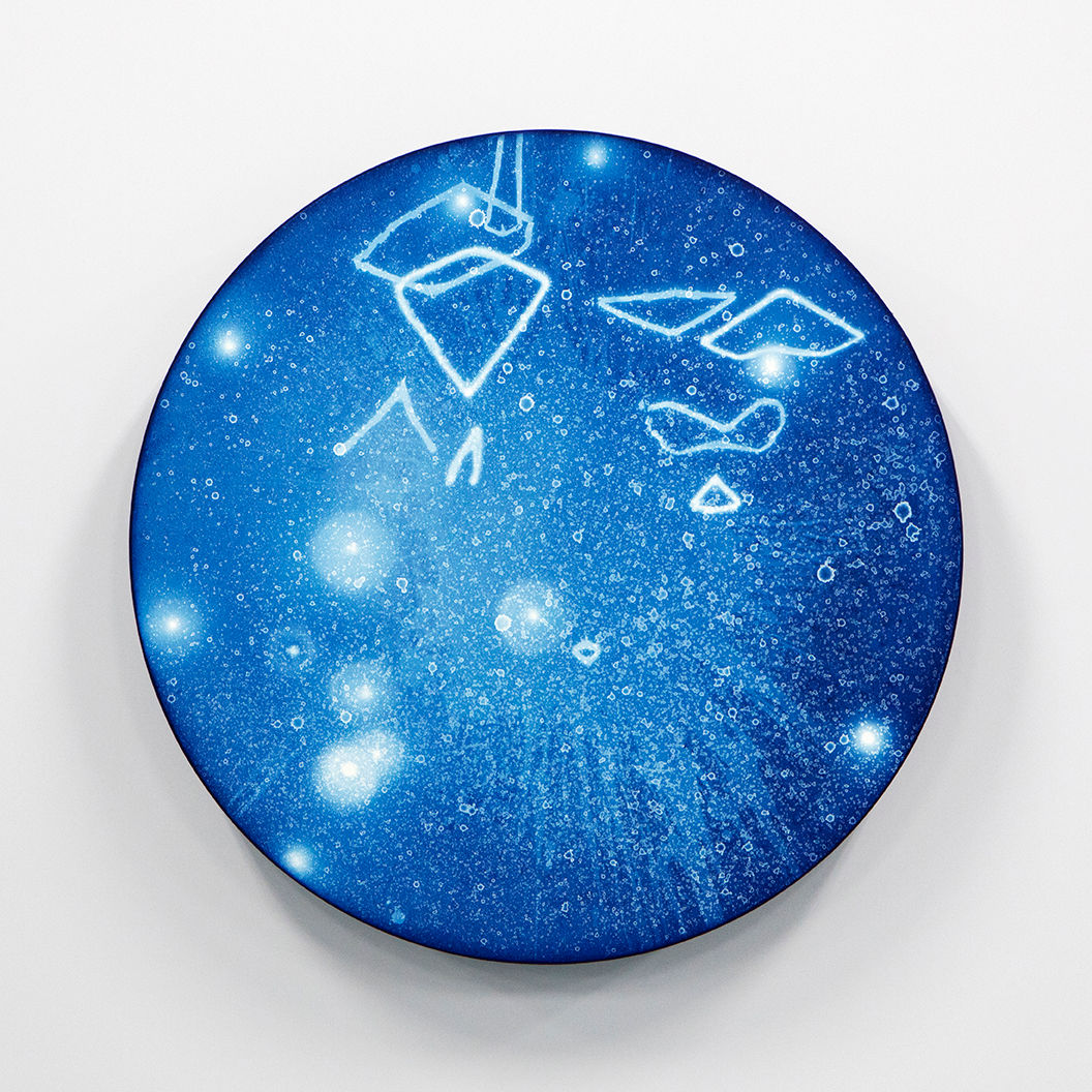 WATERSCAPE_ur sprung 1930, Diameter 50cm, Traditional pigment, water-print, water-drawing on canvas, 2019
