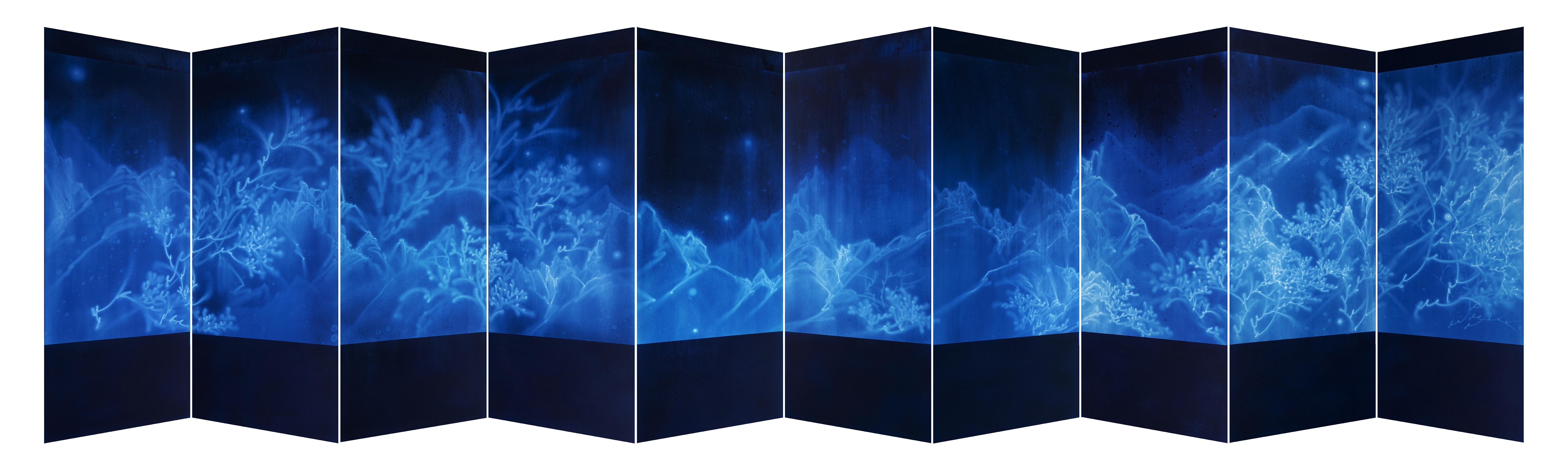 병풍 WATERSCAPE 18001, 170x600cm, 전통안료, 캔버