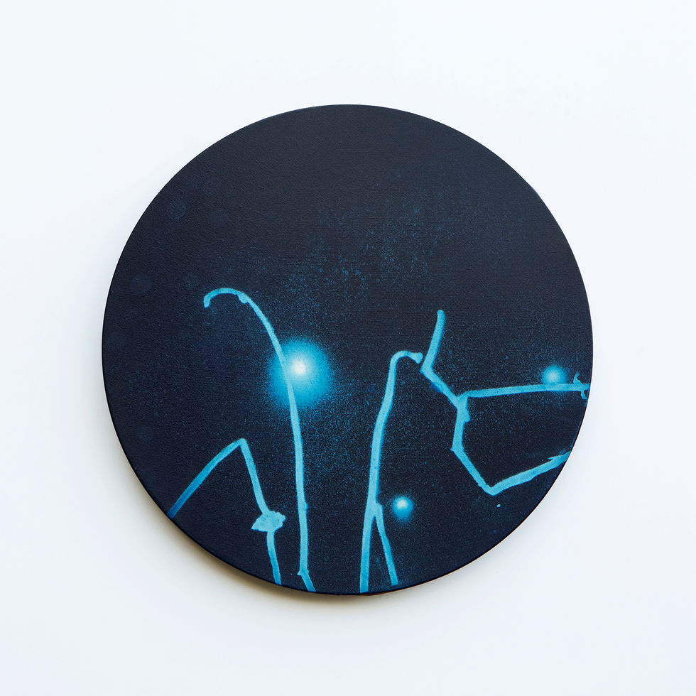 WATERSCAPE_내 안의 바깥 25, Diameter 40cm, Traditional pigment, water-print, water-drawing on canvas, 2018