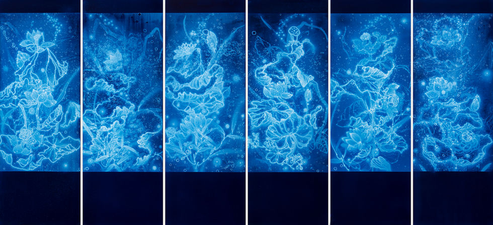 WATERSCAPE_연과연(1~6), 170x60cmx6pcs, Traditional pigment, water-print, water-drawing on canvas, 2019