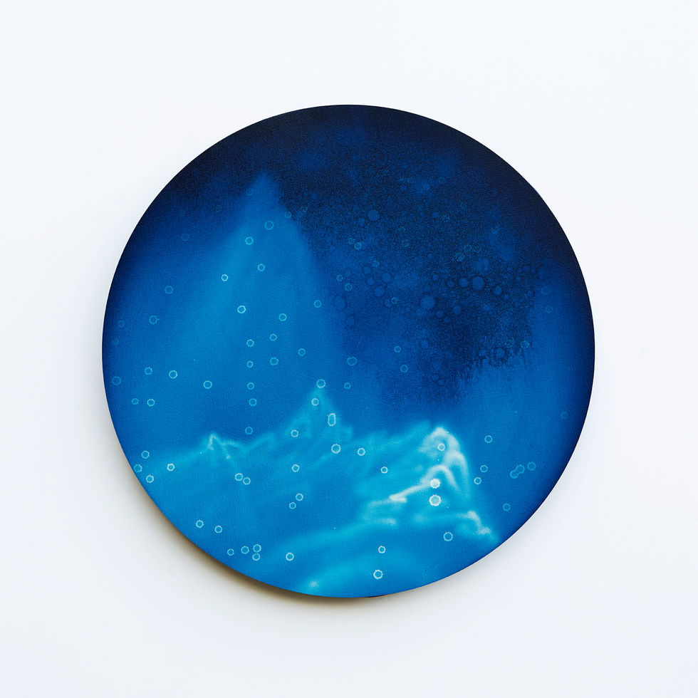 WATERSCAPE_내 안의 바깥 49, Diameter 40cm, Traditional pigment, water-print, water-drawing on canvas, 2018