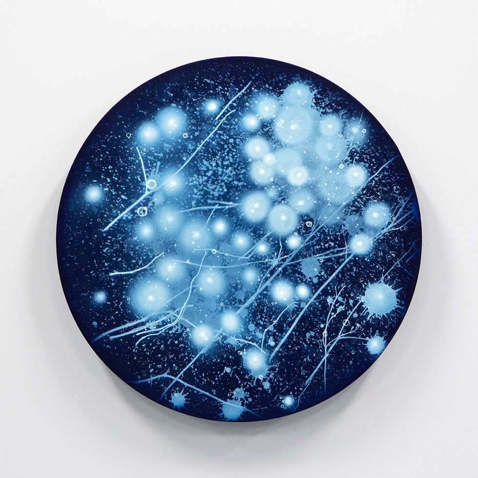 WATERSCAPE_ur sprung 1950, Diameter 50cm, Traditional pigment, water-print, water-drawing on canvas, 2019
