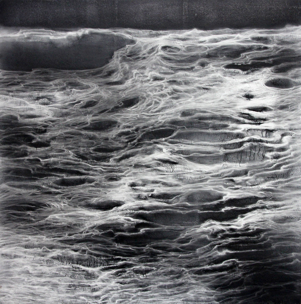 MæSS_mulgyeul 1204, 130x130cm, Graphite, wind-drawing on Mulberry paper, 2012
