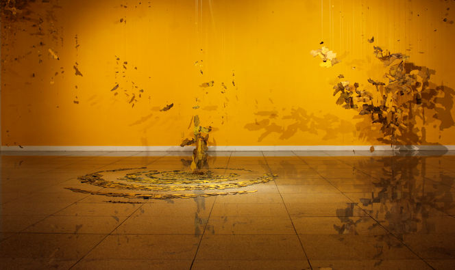 Site-specific Installation_Heiti 1, Yellow road paint fragments & fishing lines @ Light Gallery in Seoul, Korea, 2010