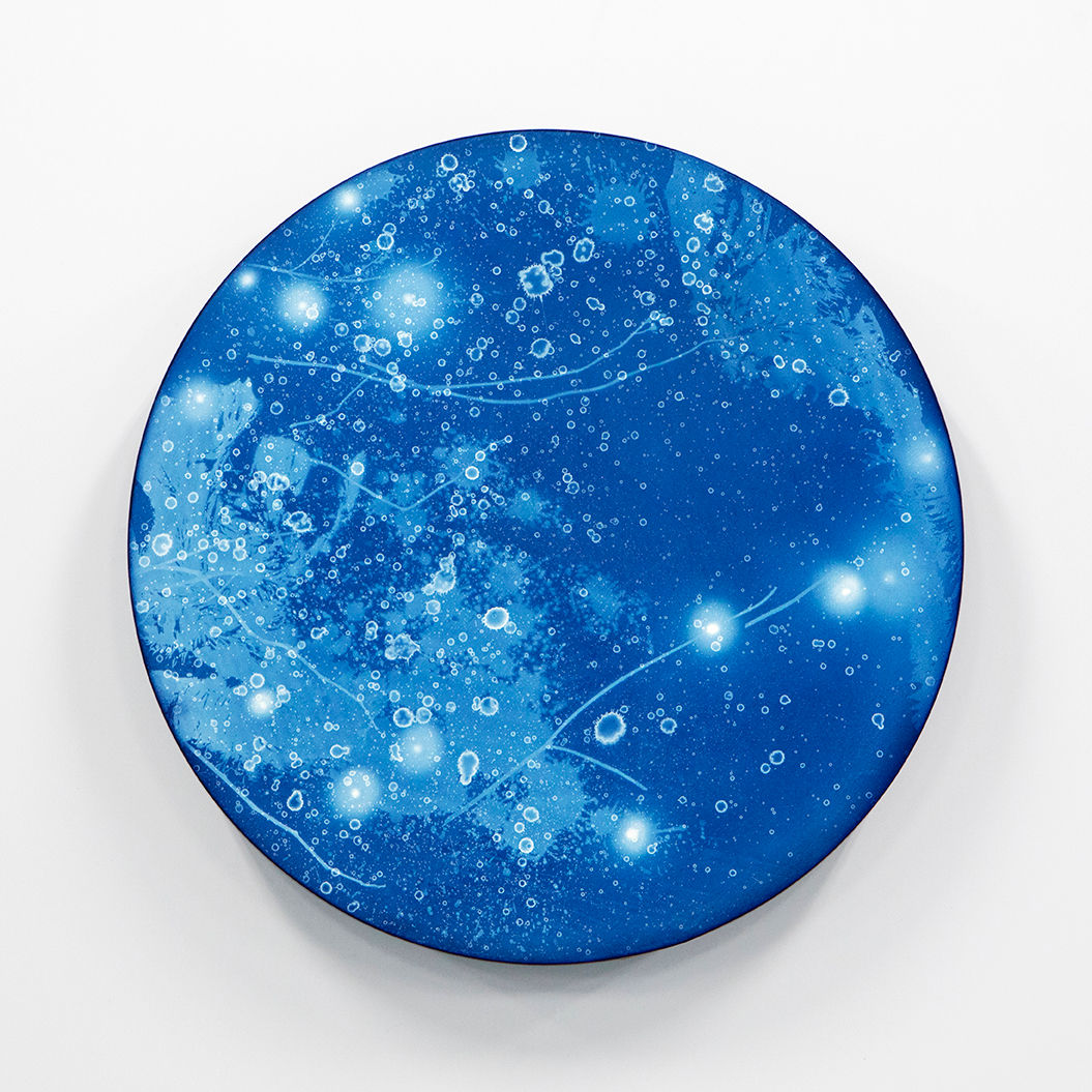 WATERSCAPE_ur sprung 1943, Diameter 50cm, Traditional pigment, water-print, water-drawing on canvas, 2019