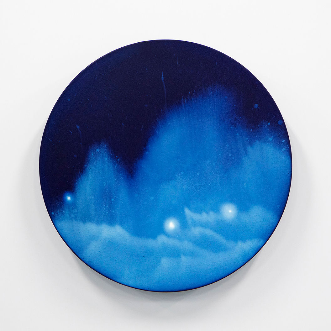 WATERSCAPE_ur sprung 1917, Diameter 50cm, Traditional pigment, water-print, water-drawing on canvas, 2019