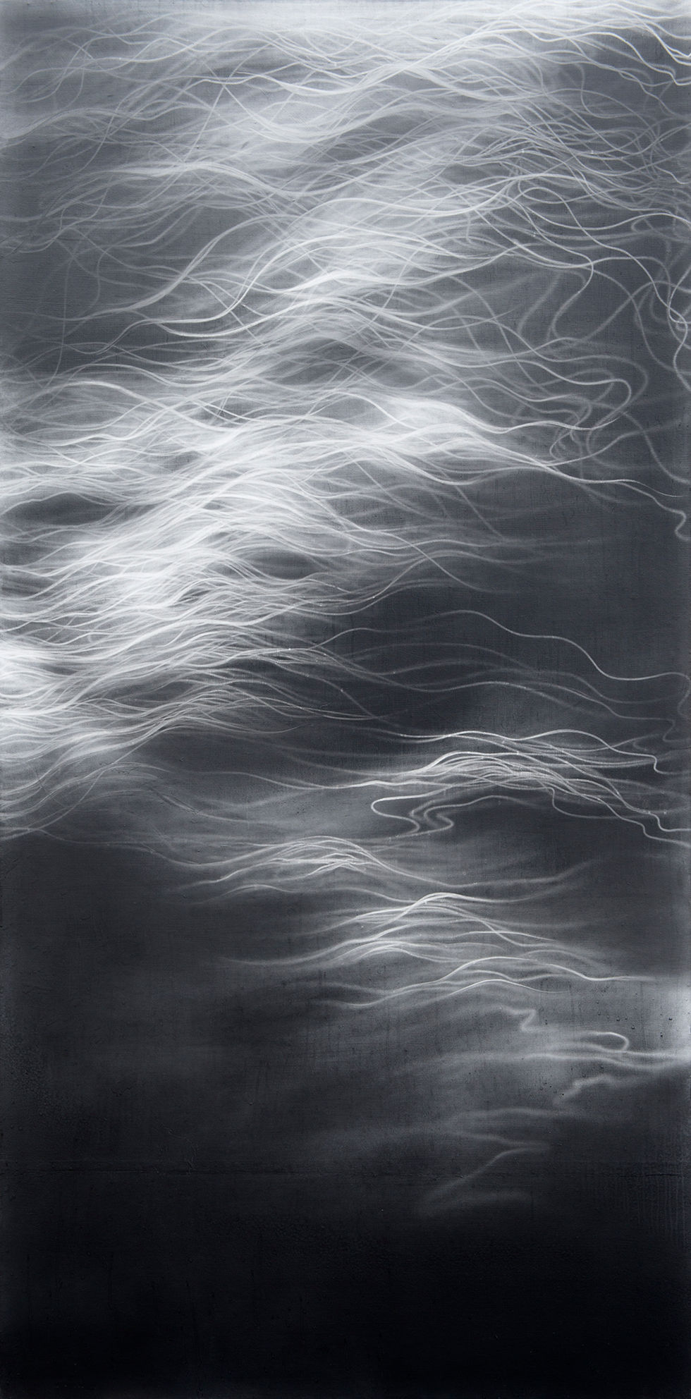 Waterscape 1329, 244x122cm,  Graphite, water-drawing on Mulberry paper, 2013