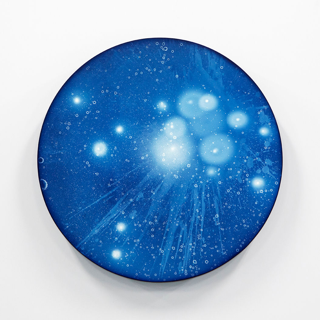 WATERSCAPE_ur sprung 1932, Diameter 50cm, Traditional pigment, water-print, water-drawing on canvas, 2019