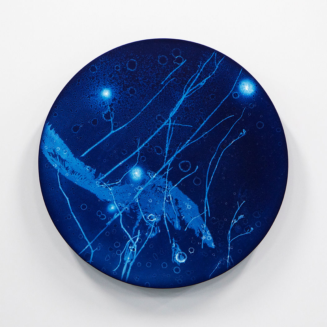 WATERSCAPE_ur sprung 1919, Diameter 50cm, Traditional pigment, water-print, water-drawing on canvas, 2019