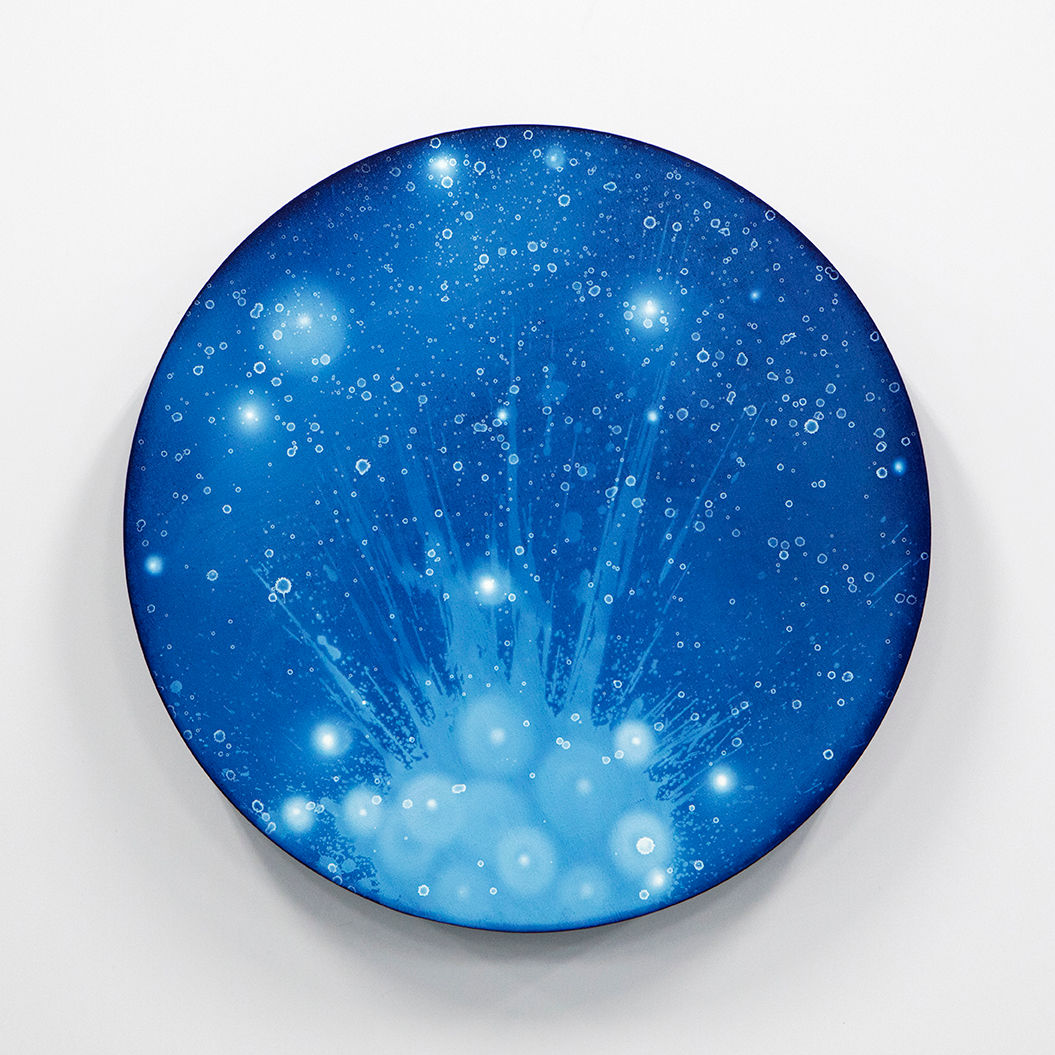 WATERSCAPE_ur sprung 1918, Diameter 50cm, Traditional pigment, water-print, water-drawing on canvas, 2019