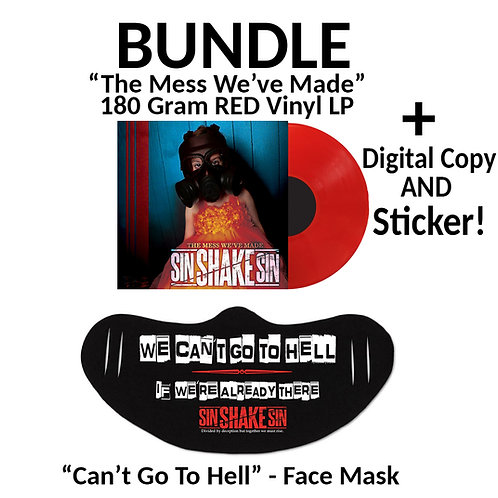 """180 Gram RED Vinyl +Digital Copy + Sticker + """"Can't Go To Hell"""" Face Mask BUNDLE"""