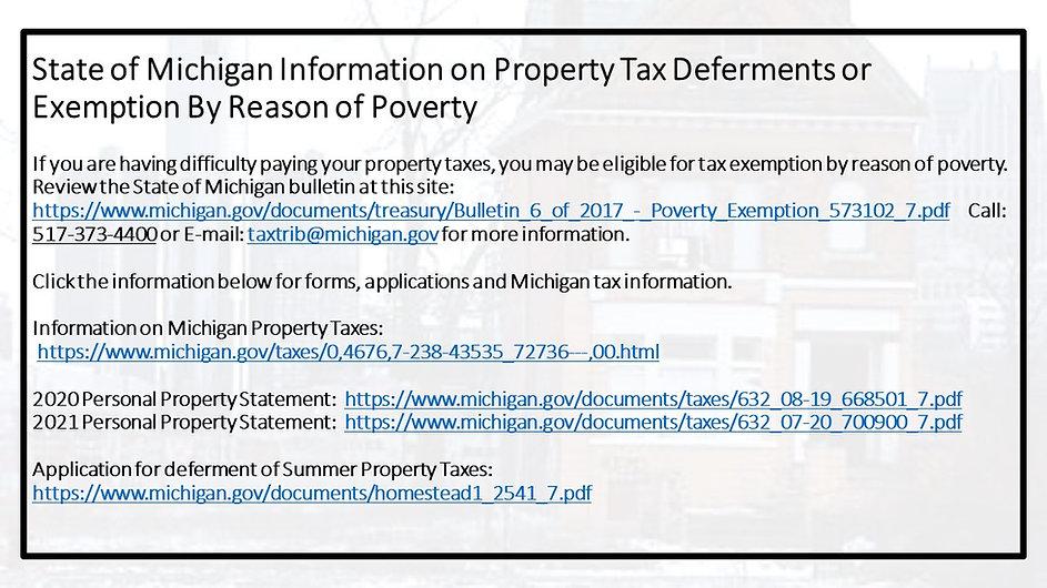 State of Michigan Information on Propert