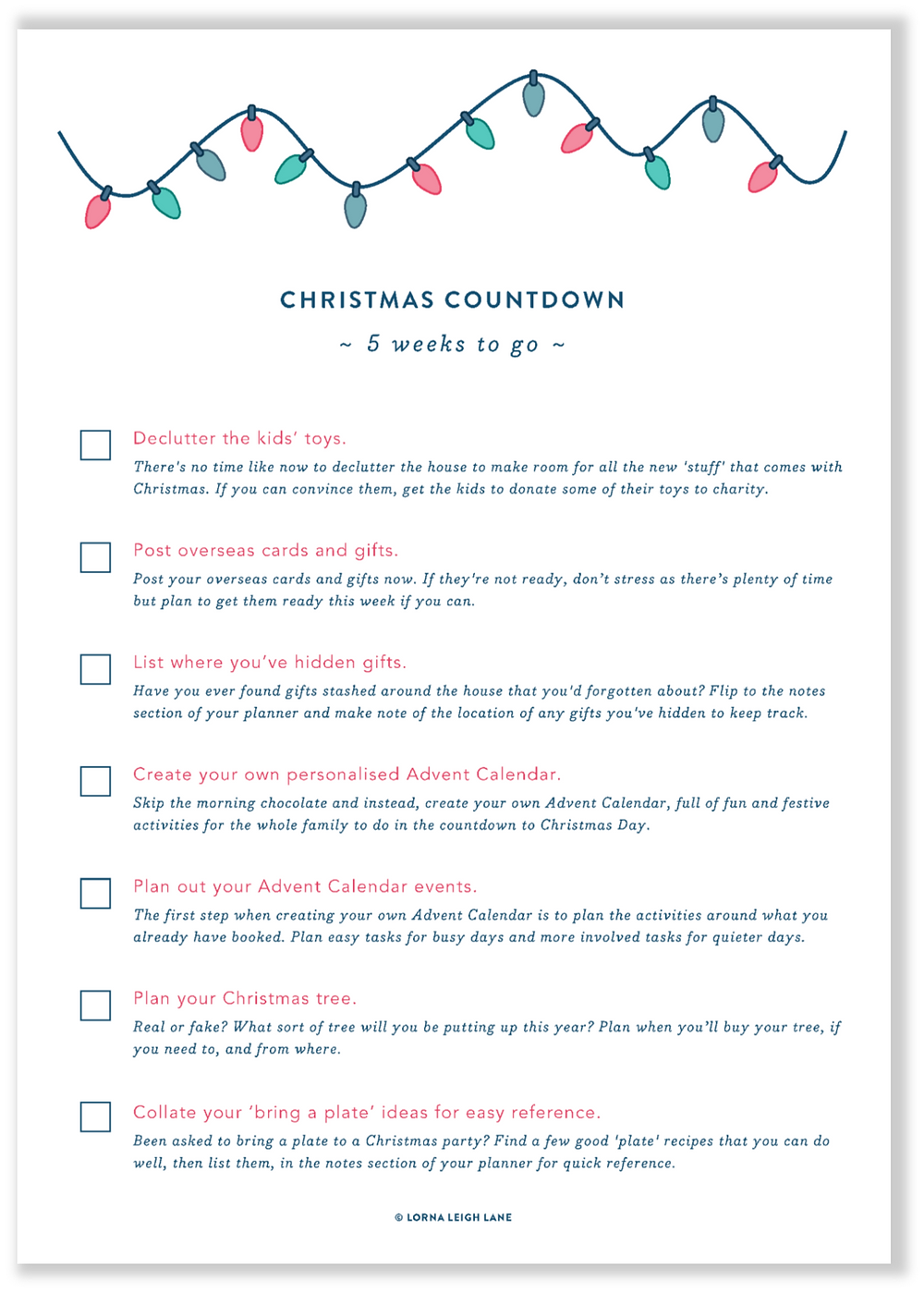 Christmas Countdown - 5 weeks to go