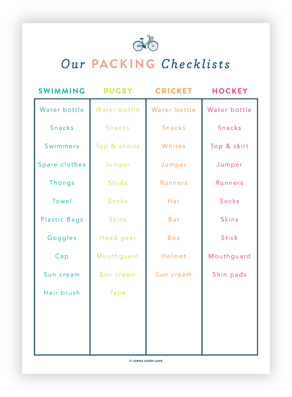 Kids' Morning Routine Chart Checklist