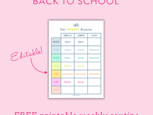 Back to school: kids' weekly routines