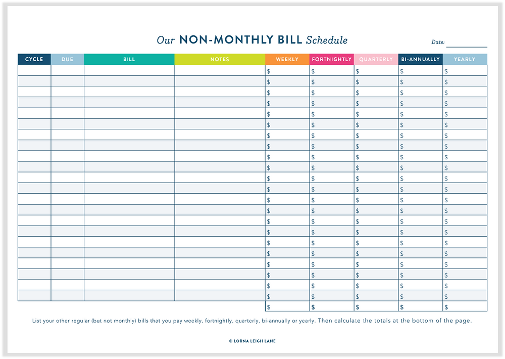 Non-Monthly Bill Schedule free printable