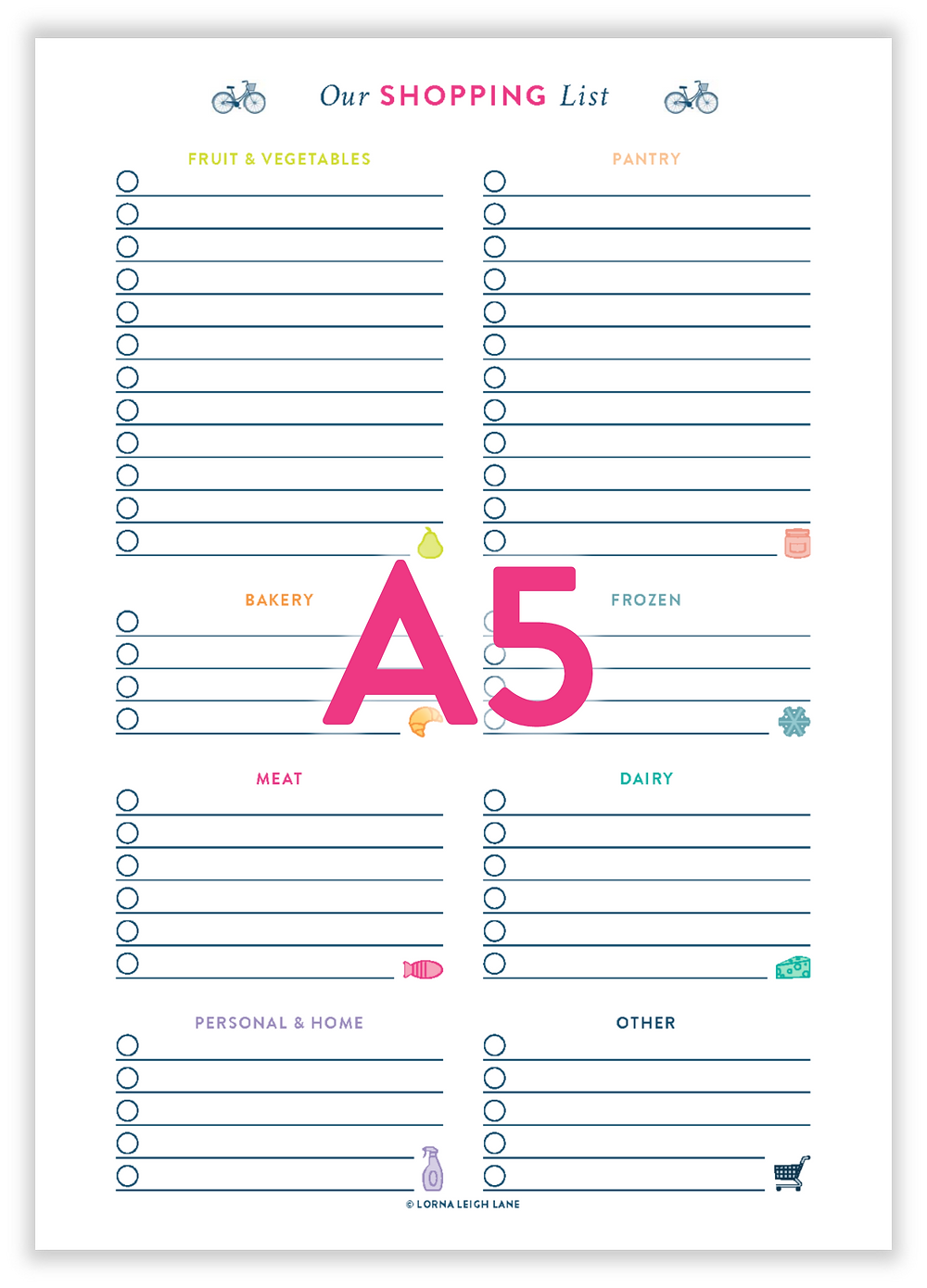 Printable A5 Shopping List